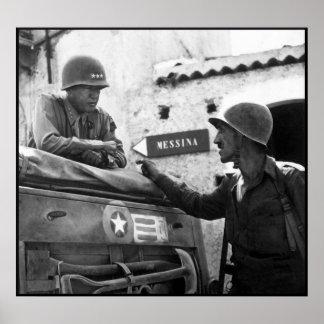 General Patton In Sicilia -- Frontera Posters