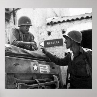 General Patton In Sicilia Póster