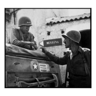 General Patton In Sicily -- Border Poster