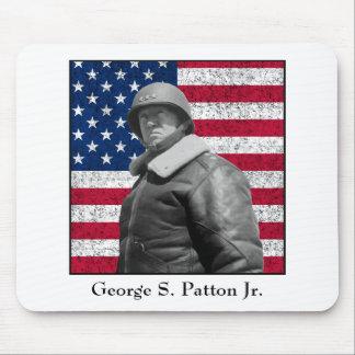 General Patton y la bandera americana Alfombrillas De Ratones
