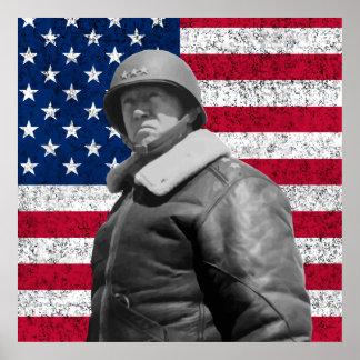 General Patton y la bandera americana Impresiones