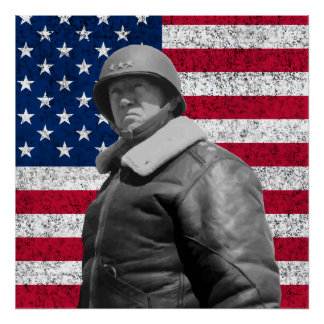General Patton y la bandera americana Póster