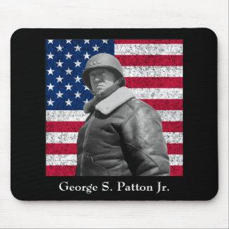 General Patton y la bandera americana Tapetes De Ratones
