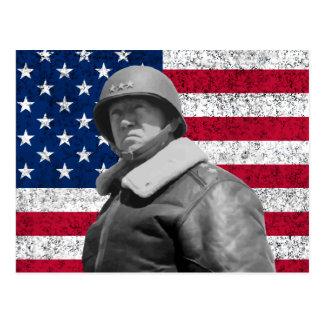 General Patton y la bandera americana Postales