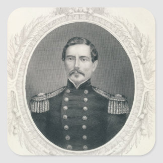 General Pedro Gustavo Toutant Beauregard Pegatina Cuadrada