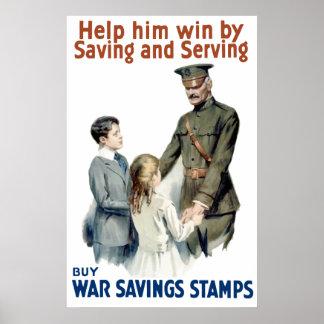General Pershing - compre sellos del ahorro de la  Póster
