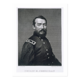 General Philip Sheridan, engraved from a photograp Postcard