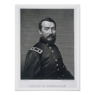 General Philip Sheridan, engraved from a photograp Poster