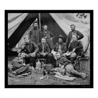 General Porter s Staff with George Custer 1862 Print