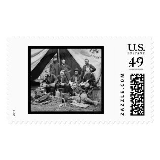 General Porter's Staff with George Custer 1862 Stamp