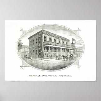 General Post Office, Honolulu, Hawaii 1890 Poster