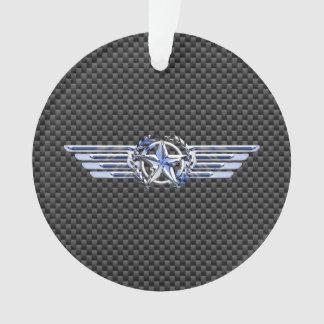 General Private Air Pilot Chrome Like Star Wings Ornament