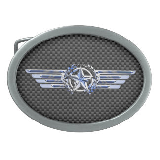 General Private Air Pilot Chrome Like Star Wings Oval Belt Buckle