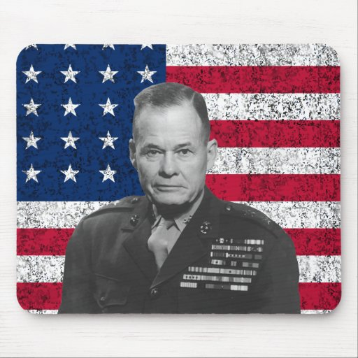 General Puller and The American Flag Mousepad