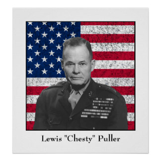 General Puller and The American Flag Poster