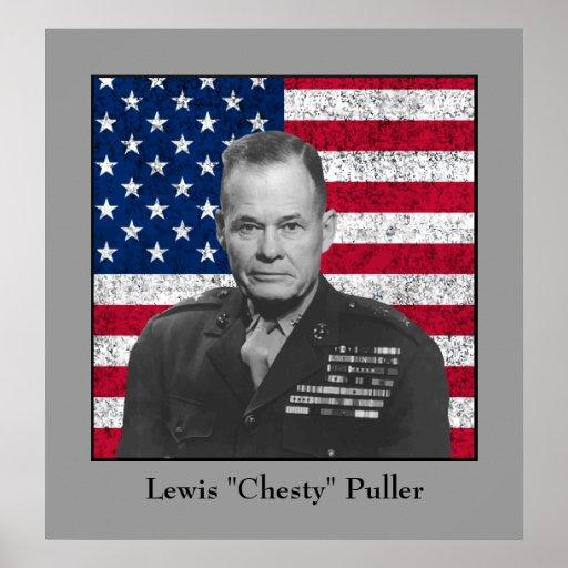 General Puller y la bandera americana Poster