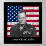 General Puller y la bandera americana Posters