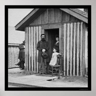 General Rawlins con la esposa y el niño 1864 Posters