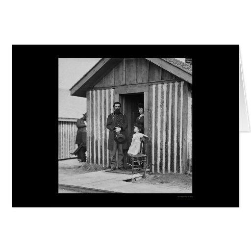 General Rawlins con la esposa y el niño 1864 Tarjetón