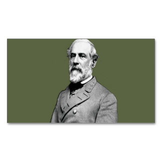 General Robert E. Lee  Army Green Magnetic Business Card