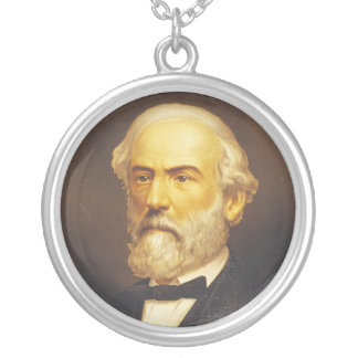 General Robert E. Lee by Strobridge & Co. Lith Round Pendant Necklace