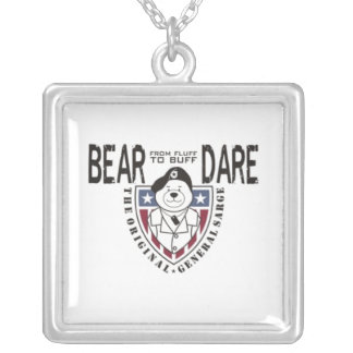 General Sarge Bear Dare Dog Tag Square Pendant Necklace
