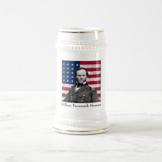 General Sherman and The American Flag 18 Oz Beer Stein