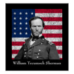 General Sherman and The American Flag Poster