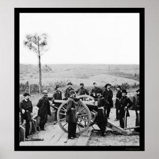 General Sherman Leaning on a Gun in Atlanta 1864 Poster