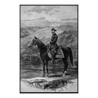General Sherman on Horseback -- With Border Poster