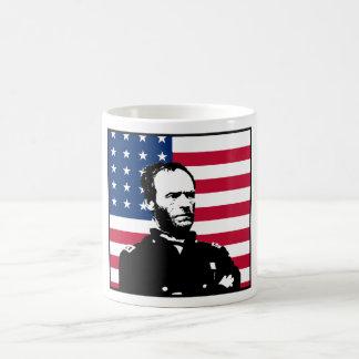 General Sherman y la bandera americana Tazas