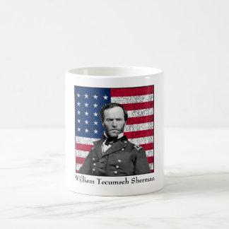 General Sherman y la bandera americana Taza De Café