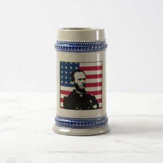 General Sherman y la bandera americana Taza