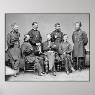 General Sherman y su personal -- Frontera Impresiones