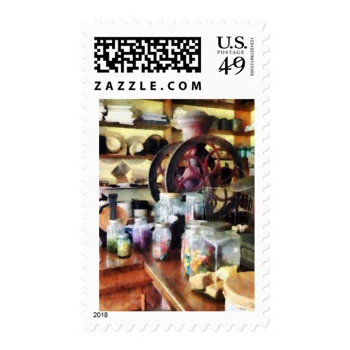 General Store With Candy Jars Postage Stamp
