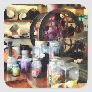 General Store With Candy Jars Square Sticker