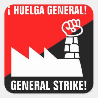 general strike huelga general square sticker