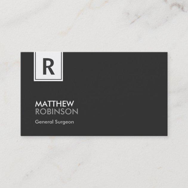 General Surgeon Modern Classy Monogram Business Card Zazzle Com