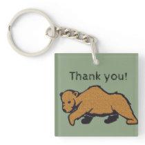 General Thank You Appreciation Artistic Brown Bear Keychain