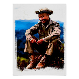 General Vang Pao Watercolor Poster