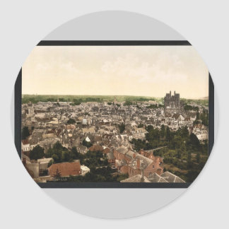 General view, Abbeville, France vintage Photochrom Round Stickers