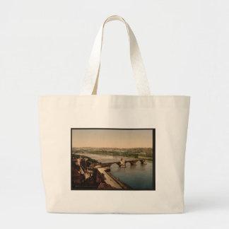 General view and Benezech Bridge, Avignon, Provenc Large Tote Bag