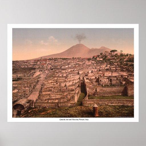 General view and Vesuvius, Pompeii, Italy Print