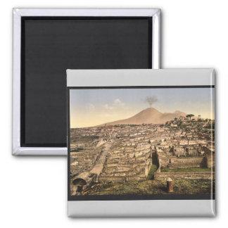 General view and Vesuvius, Pompeii, Italy vintage 2 Inch Square Magnet