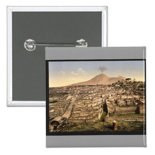 General view and Vesuvius, Pompeii, Italy vintage 2 Inch Square Button