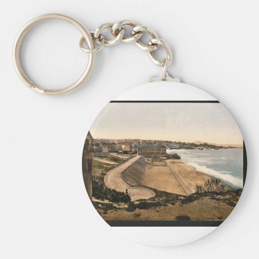 General view, Biarritz, Pyrenees, France vintage P Basic Round Button Keychain