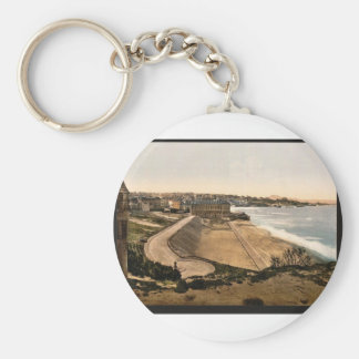 General view Biarritz Pyrenees France vintage P Keychain