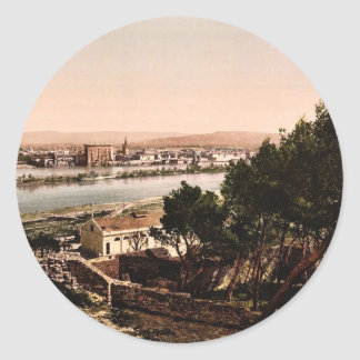 General view from Beaucaire Castle, Tarascon, Pyre Classic Round Sticker