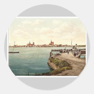"General view, from the ""Alte Fahre"", Stralsund, Po Classic Round Sticker"