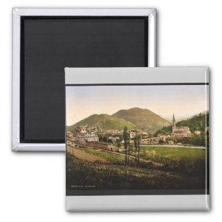 General view, Lourdes, Pyrenees, France vintage Ph 2 Inch Square Magnet